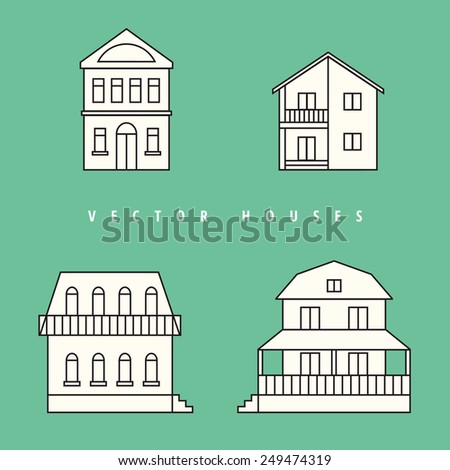 Houses Isolated elements for design. Vector illustration. - stock vector