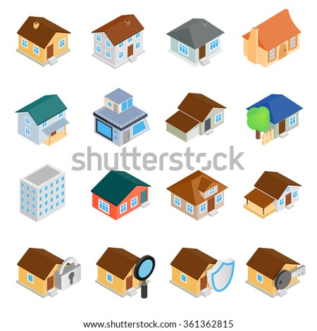 Houses isometric 3d icons set isolated on white background - stock vector