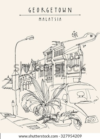 Houses, lamp, car and tropical plants in Georgetown historic colonial center. Malaysia, Southeast Asia. Colonial buildings. Vintage postcard template. Vector - stock vector