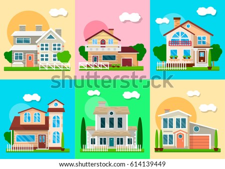 homes around the world clipart. houses mansions and villa cottages real estate vector objects homes around the world clipart