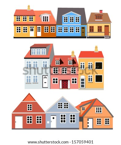 houses of different colors and styles - stock vector