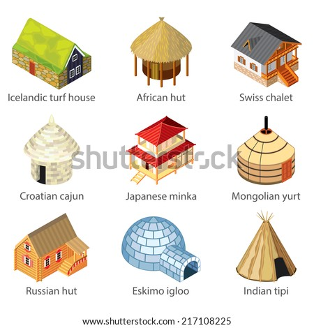 Houses of different nations icons photo-realistic vector set - stock vector