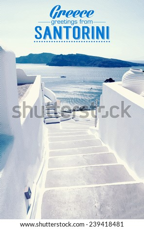Houses of Santorini in details, pot with flower on the stairs - stock vector