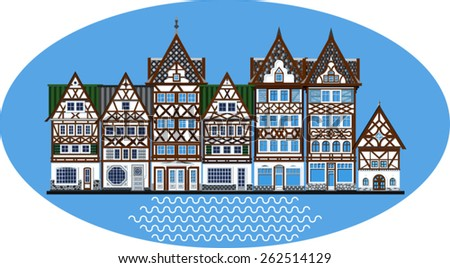 houses of the medieval city on a blue background - stock vector