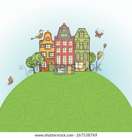 Houses on the Earth. Cartoon illustration. There is copy space for text in the sky and on the Earth. Houses, the Earth and sky are on separate layers.  - stock vector