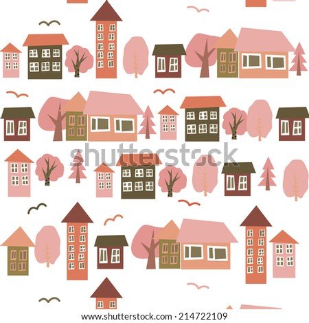 Houses seamless pattern,street, houses,seamless pattern with decorative colorful houses. City endless background. - stock vector