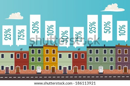 Houses values - stock vector