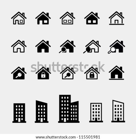 houses vector icons set - stock vector