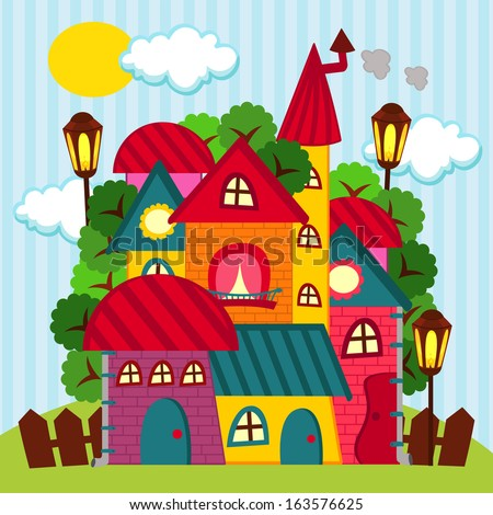 houses - vector illustration - stock vector