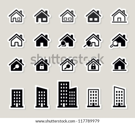houses vector web icons set. paper stickers - stock vector