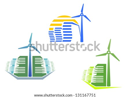 Houses with wind turbines for modern ecological design or logo template. Jpeg (bitmap) version also available in gallery - stock vector