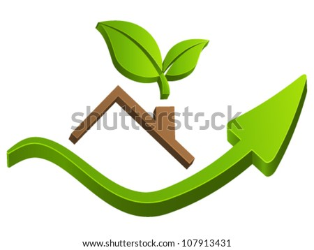 housetop, real estate sign - vector illustration - stock vector