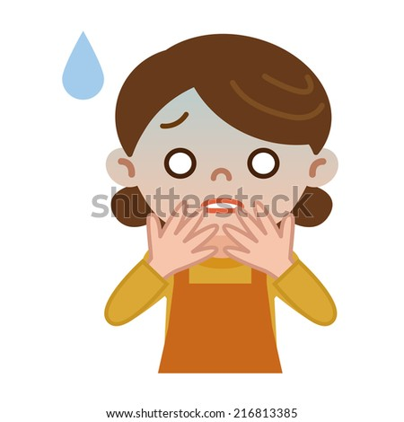 Housewife bad complexion - stock vector