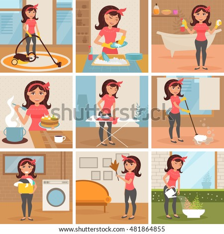 Pictures women cleaning house cartoon