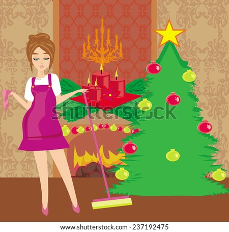 housewife cleaning house before Christmas - stock vector