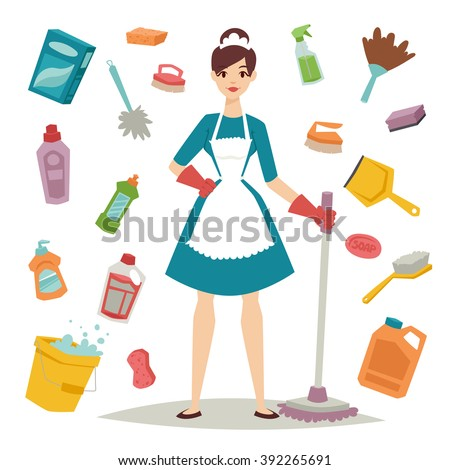 Housewife girl homemaker cleaning and housewife pretty girl wash. Housewife girl and home cleaning equipment icon in flat style vector illustration. - stock vector