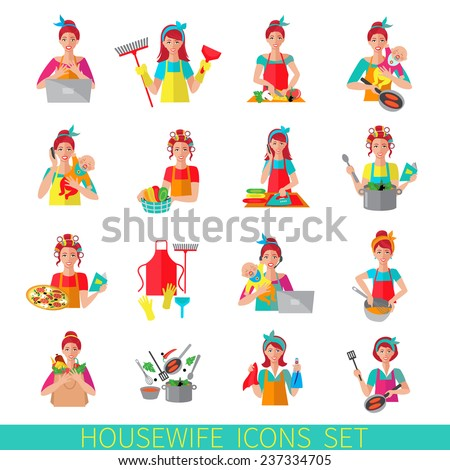 Housewife icon set with woman house working cleaning washing isolated vector illustration - stock vector