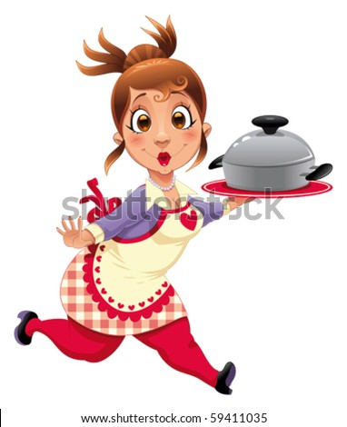 Housewife with pot. Funny cartoon and vector character. - stock vector