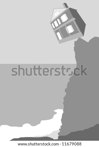 Housing Crash Vector - stock vector