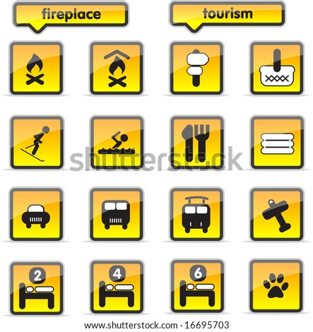 housing icons in orange colour, oall vector