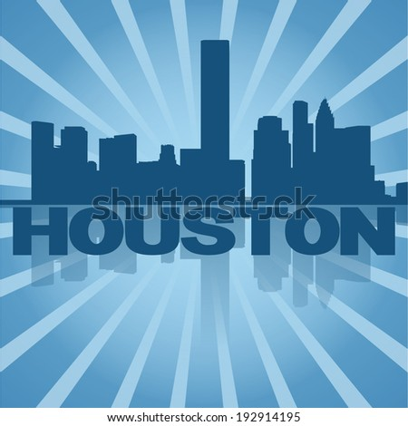 Houston skyline reflected with blue sunburst vector illustration - stock vector