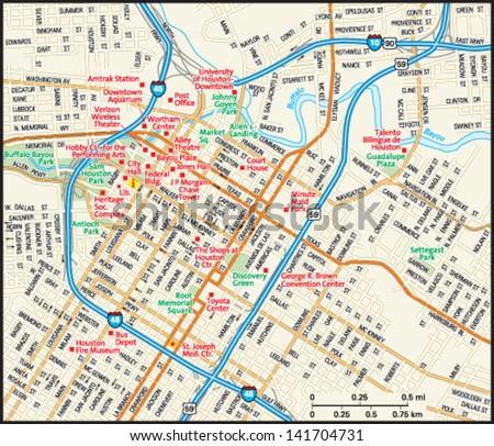 Houston, Texas downtown map - stock vector