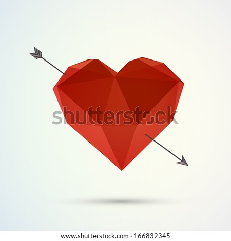 Hover 3d origami heart design with arrow and shadow  Eps 10 vector illustration  - stock vector