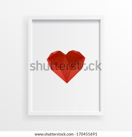 Hover 3d origami red heart design in minimal white picture frame Eps 10 vector illustration  - stock vector