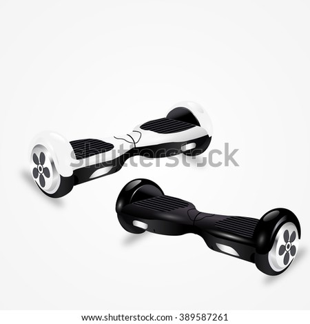 Hoverboard vector illustration. White and black shiny electric scooters - stock vector