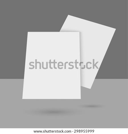 Hovering Blank empty magazine or book or booklet, brochure, catalog, leaflet, template on a gray background. vector - stock vector