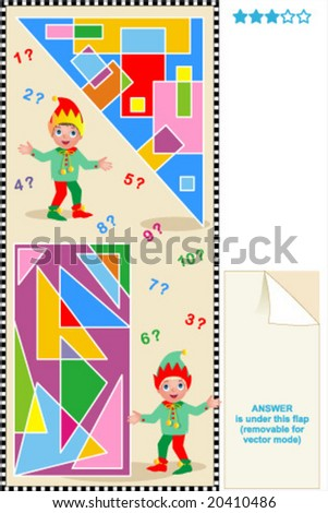 How many rectangles are inside the triangle? How many triangles are inside the rectangle? Help little elves to count. For high res JPEG or TIFF see image 20410324 - stock vector