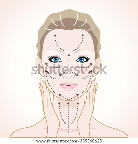 How to apply cream to the face and neck - stock vector
