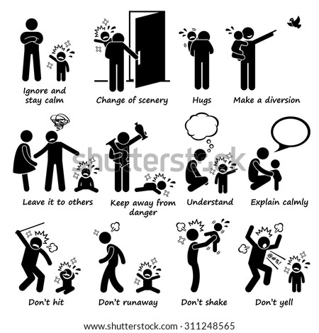How to Handle Kid Child Tantrum Outburst Stick Figure Pictogram Icons - stock vector