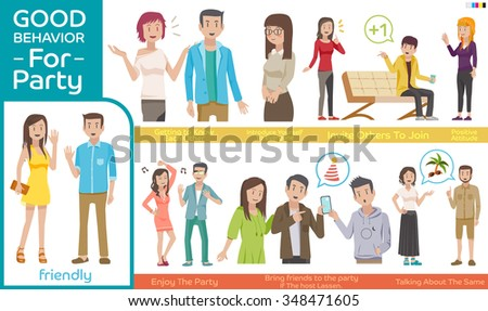 How to join at a Party.Practice guidelines for the party.Good behavior Character people for a great party.Illustration for idea and approach to communication for party.Info-graphic of a party. EPS 10. - stock vector