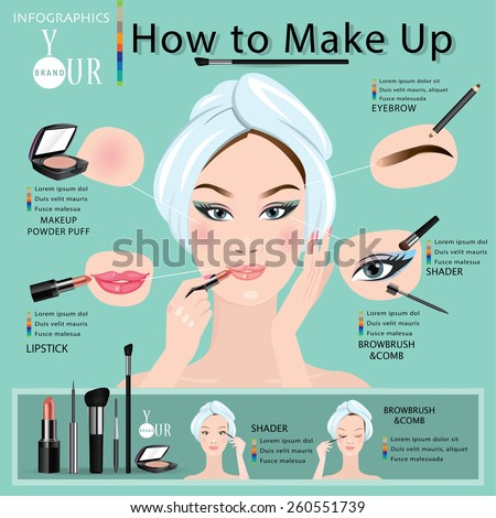 How to make a beautiful woman with makeup. - stock vector