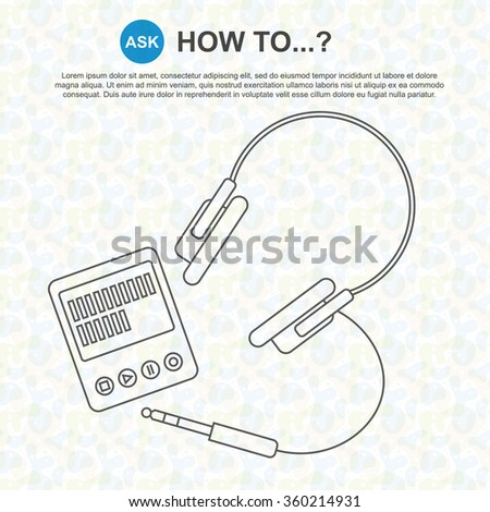 How to make? - Digitization of sound / Listening to music - Line drawing, website design, banner, slide - stock vector