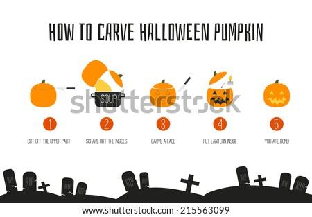 How to make Jack-O'Lantern - main symbl of halloween. Halloween pumpkin DIY instrutions maed in flat styled vector. - stock vector
