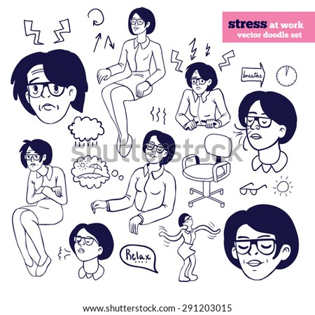 How to reduce stress at work Infographics line vector set. Woman in glasses. isolated vector, easy to edit