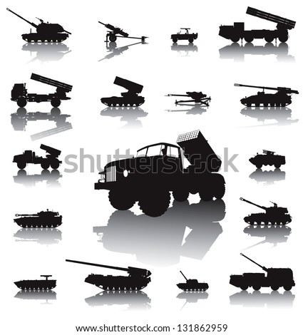 Howitzer and rocket artillery silhouettes set. Vector on separate layers - stock vector
