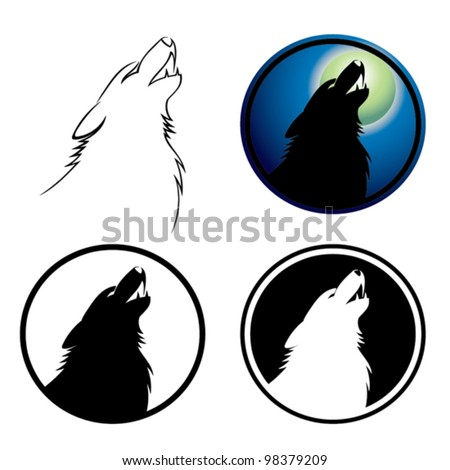 Howling wolf symbol - vector illustration - stock vector