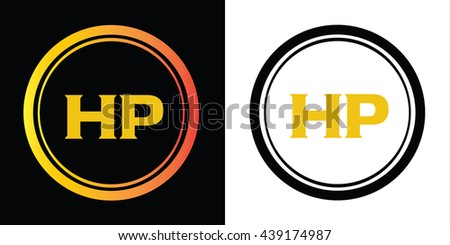hp letters icon design template elements stock vector royalty free