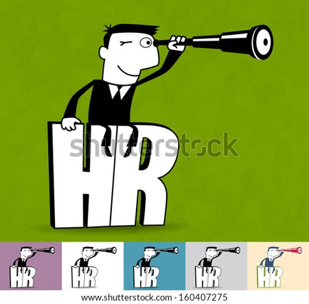 HR. Business illustration (EPS 10). Animation friendly: the elements ( arms, heads etc) are in the separate layers. Seamless pattern on the background (color can be changed) - stock vector