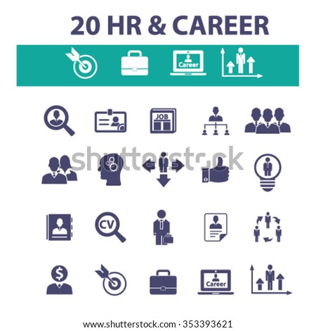 hr, career, job  icons, signs vector concept set for infographics, mobile, website, application  - stock vector