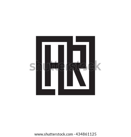 HR initial letters looping linked square monogram logo