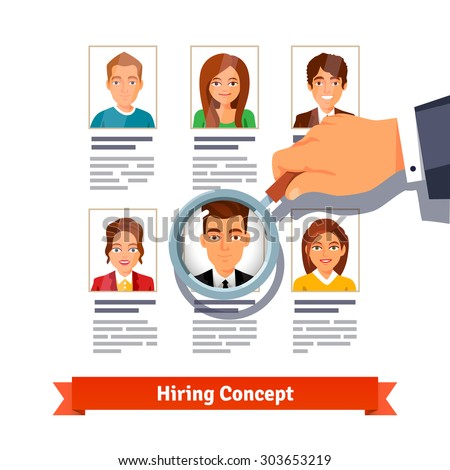 HR manager looking through a magnifying glass on job candidates. Hiring concept. Flat style vector illustration isolated on white background. - stock vector