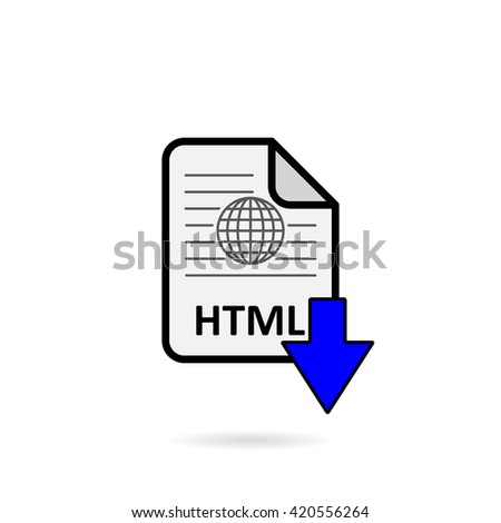 html file blue arrow download button stock photo photo vector rh shutterstock com Web Arrow Arrow Button HTML
