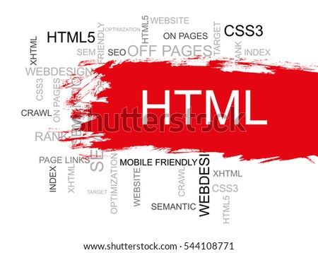 HTML Word Cloud, Design and Internet Concept