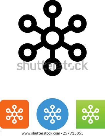 Hub icon on button graphic. Vector icons for video, mobile apps, Web sites and print projects.  - stock vector