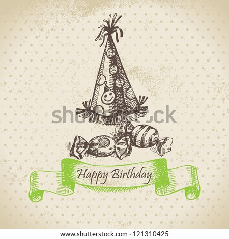 Hubcap and sweets. Happy Birthday hand drawn illustration - stock vector