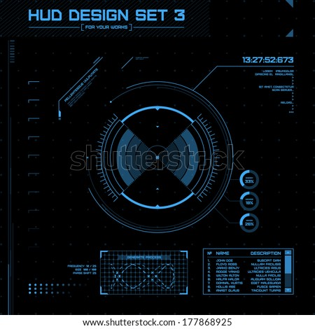 HUD and GUI set. Futuristic User Interface. Set 3 - stock vector